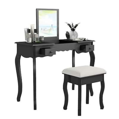 2-Piece Black Vanity Dressing Table Set Mirrored Bathroom Furniture with Stool Table Desk