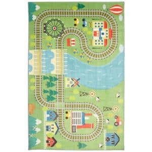 Train Track Play Green 5 ft. x 8 ft. Contemporary Area Rug