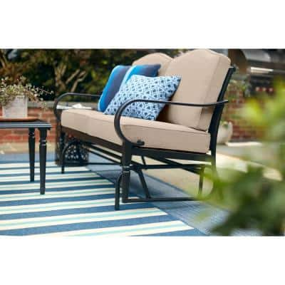 Laurel Oaks Dark Brown Steel Outdoor Patio Glider with CushionGuard Putty Tan Cushions