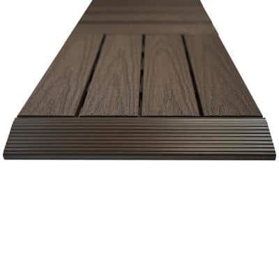 1/6 ft. x 1 ft. Quick Deck Composite Deck Tile Straight Fascia in Indonesian Merbau (4-Pieces/Box)