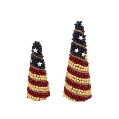 Assorted Americana Foam Berry Cones with Metal Stars (Set of 2)