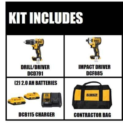 20-Volt MAX XR Cordless Brushless Drill/Impact Combo Kit with Two 20-Volt 2.0Ah Batteries and Charger (2-Tool)