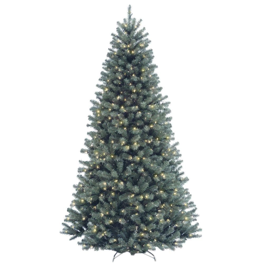 National Tree Company 7 1 2 Ft North Valley Spruce Blue Hinged Artificial Christmas Tree With 700 Clear Lights Nrvb7 306 75 The Home Depot