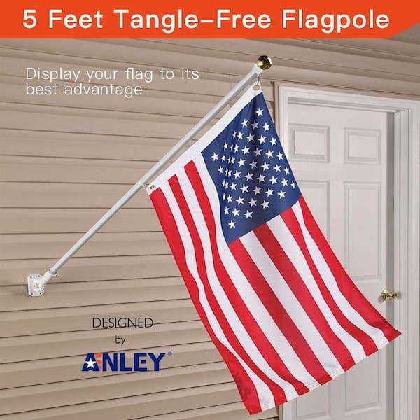 USA 6ft Aluminum Spinning White Flag Pole Gold Ball Adjustable Mount USA Flag