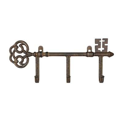 3-Pronged Cast Iron Rustic Decorative Skeleton Key Wall Mount Hooks