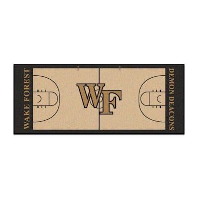 NCAA - Wake Forest University Tan 3 ft. x 6 ft. Indoor Basketball Court Runner Rug