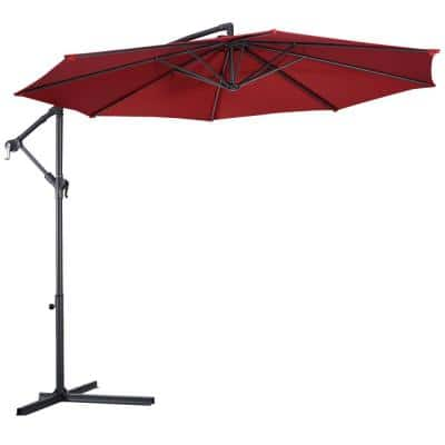 10 ft. Steel Cantilever Tilt Patio Umbrella with Stand in Burgundy