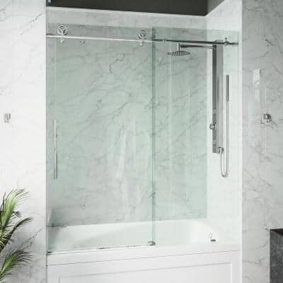 Elan Cass 56 to 60 in. W x 66 in. H Sliding Frameless Tub Door in Chrome with Clear Glass