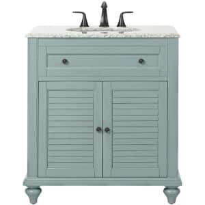 Hamilton Shutter 31 in. W x 22 in. D Bath Vanity in Sea Glass with Granite Vanity Top in Grey with White Sink