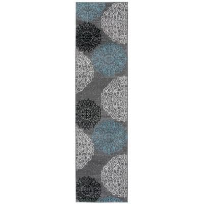 Contemporary Modern Floral Gray 24 in. x 120 in. Runner Rug