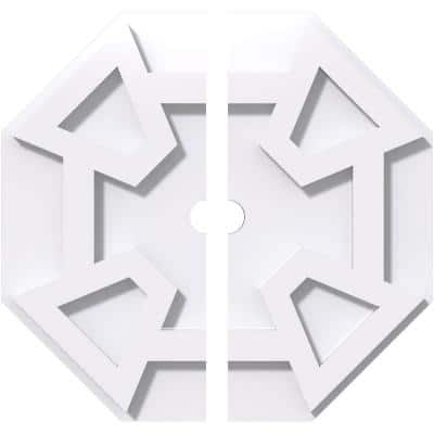 1 in. P X 4 in. C X 12 in. OD X 1 in. ID Logan Architectural Grade PVC Contemporary Ceiling Medallion, Two Piece