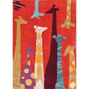 Colorful Giraffes Playmat Red 8 ft. x 10 ft. Area Rug