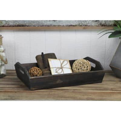 Deep Wooden Shabby Brown Tray with Side handles