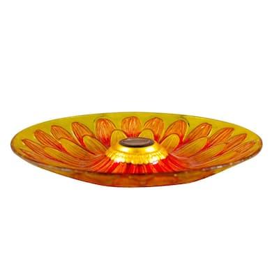 Solar Glass Sunflower Birdbath
