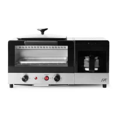 Breakfast Center 1450 W 2-Slice Black and Stainless Steel Toaster Oven with Griddle and Coffee Maker