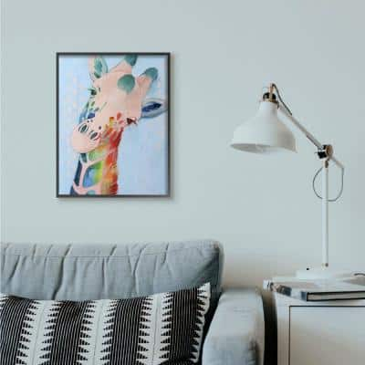 """24 in. x 30 in. """"Colorful Abstract Giraffe Rainbow Blue Drawing"""" by Grace Popp Framed Wall Art"""
