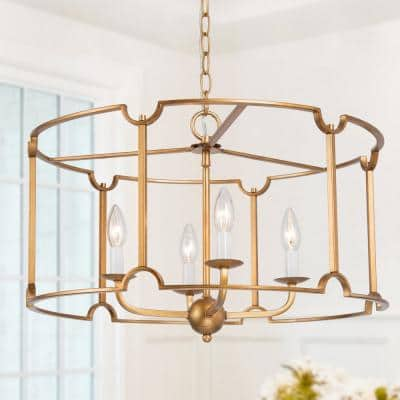 Modern Gold Drum Island Chandelier Pendant Light 4-Light Brushed Gold Cage Dining Room Chandelier with Candle Style