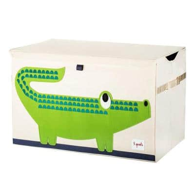 Beige Collapsible Crocodile Toy Chest Storage Bin for Kids Playroom