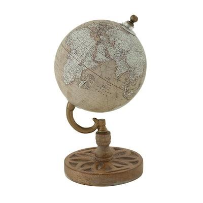 9 in. Beige Plastic Traditional Decorative Globe