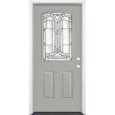 36 in. x 80 in. Chatham Camber Top Half Lite Painted Left Hand Inswing Smooth Fiberglass Prehung Front Door w/ Brickmold