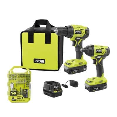 ONE+ 18V Cordless 2-Tool Combo Kit with Drill/Driver, Impact Driver, Batteries, Charger, Bag, and Drill Kit (65-Piece)