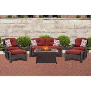 Strathmere 6-Piece Woven Wicker Patio Seating Set with Wood Grain-Top Fire Pit with Crimson Red Cushions