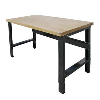 30 in. x 72 in. Heavy-Duty Adjustable Height Workbench with Solid Hardwood Top, Commercial Grade, 16-Gauge Steel