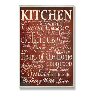 12.5 in. x 18.5 in. ''Words in the Kitchen, Off Red'' by Gplicensing Printed Wood Wall Art