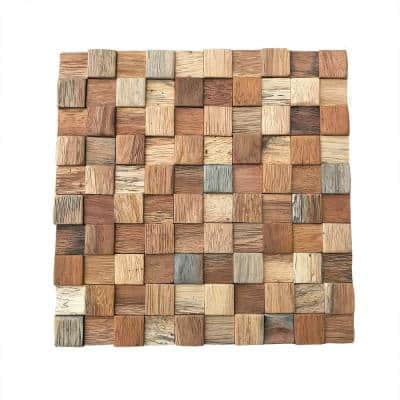 11-7/8 in. x 11-7/8 in. x 1/2 in. Ancient Boat Wood Mosaic Wall Tile Natural (11-Pack)