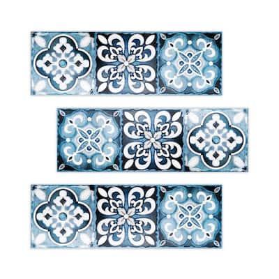 Topaz 4 in. x 12 in. Blue Ceramic Decorative Listello Wall Tile (3-Pack)
