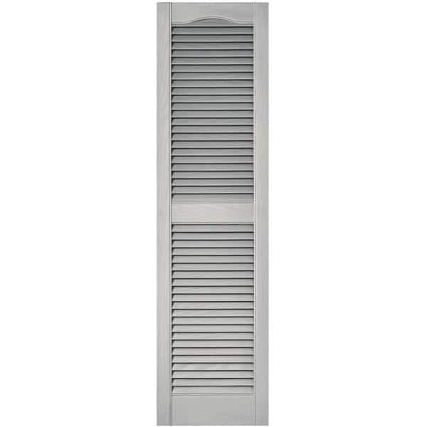 Builders Edge 15 In X 55 In Louvered Vinyl Exterior Shutters Pair In Paintable 010140055030 The Home Depot