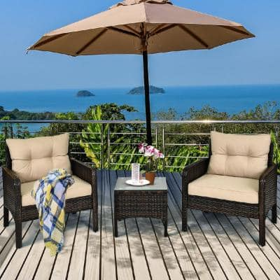 Brown 3-Piece Rattan Wicker Outdoor Patio Conversation Set Sofa Chair with Yellowish Cushions