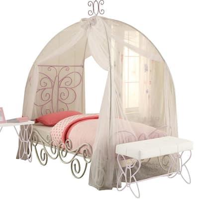 Amelia White and Light Purple Metal Tube Full Bed