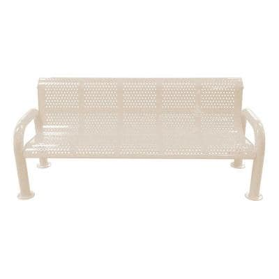 6 ft. Sandstone Metal U-Leg Perforated Roll Form Bench with Back