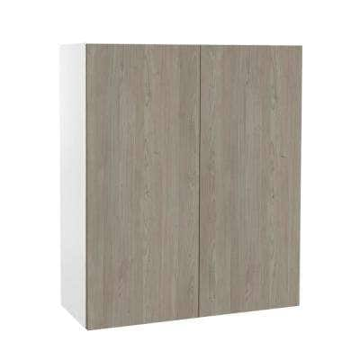 Ready to Assemble Threespine 30 in. x 30 in. x 12 in. Stock Wall Cabinet in Grey Nordic