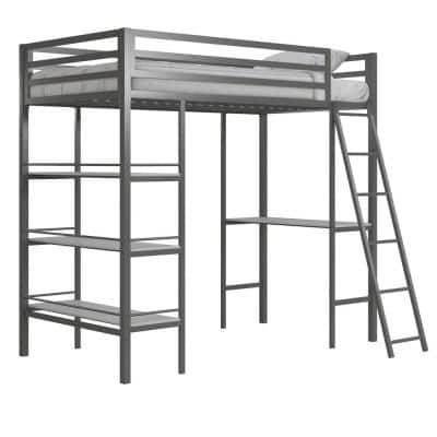 Nova Gunmetal Gray Metal Twin Loft Bed with Shelves