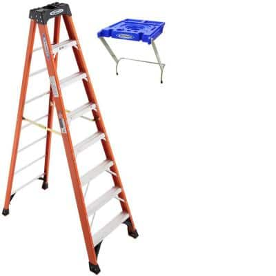 8 ft. Fiberglass Step Ladder (12 ft. Reach Height) TIA 300 lbs. Duty Rating with Lock-In Utility Bucket