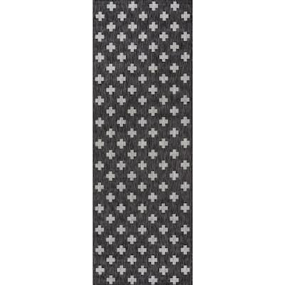 Umbria Charcoal 3 ft. x 8 ft. Indoor/Outdoor Runner Rug