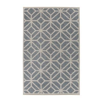 Bahama Blue 7 ft. 10 in. x 10 ft. Modern Contemporary Geometric Indoor/Outdoor Area Rug