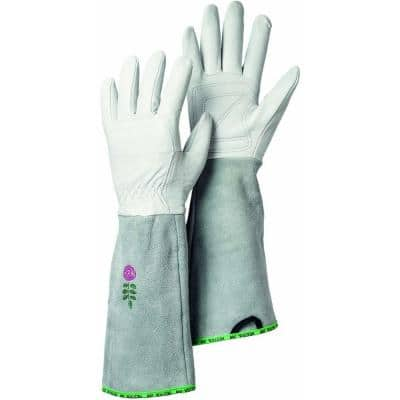 Garden Rose Size 9 Medium/Large Durable Goatskin Leather Gloves with Long Cowhide Cuff for Extra Protection in Off White