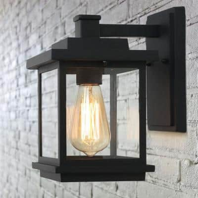 Square 1-Light Black Outdoor Wall Lantern Sconce with Clear Glass Shade