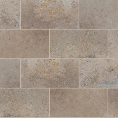 Take Home Tile Sample - Mediterranean Walnut 6 in. x 6 in. Brown Chiseled Travertine Paver Tile (0.25 sq. ft.)