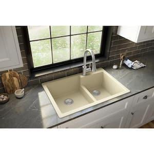 Bisque Quartz 33 in. 60/40 Double Bowl Composite Drop-in Kitchen Sink