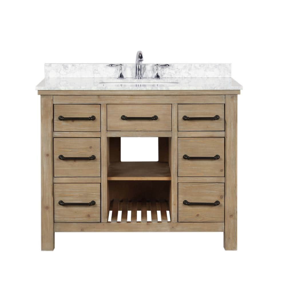 Ari Kitchen And Bath Lauren 42 In Single Bath Vanity In Weathered Fir With Marble Vanity Top In Carrara White With White Basin Akb Lauren 42 Weathfir The Home Depot
