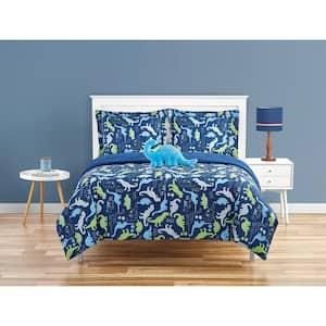 Dino Stamp Navy 3-Piece Microfiber Comforter Bedding Set - Twin