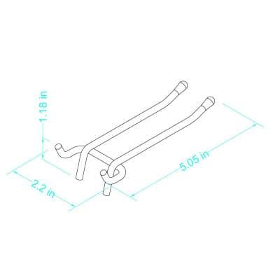 4 in. Zinc-Plated Steel Double Arm Straight Peg Hooks 1/4 in. Peg (2-Pack)