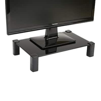 4-Leg Glass Monitor Stand, Desktop Monitor Stand Riser for Computer, Laptop, Desk, Imac, Dell, HP Black