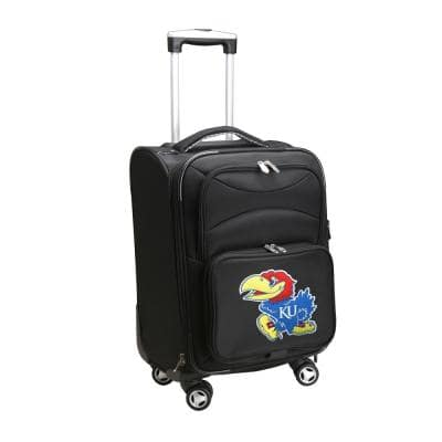 NCAA Kansas Black 21 in. Carry-On Softside Spinner Suitcase