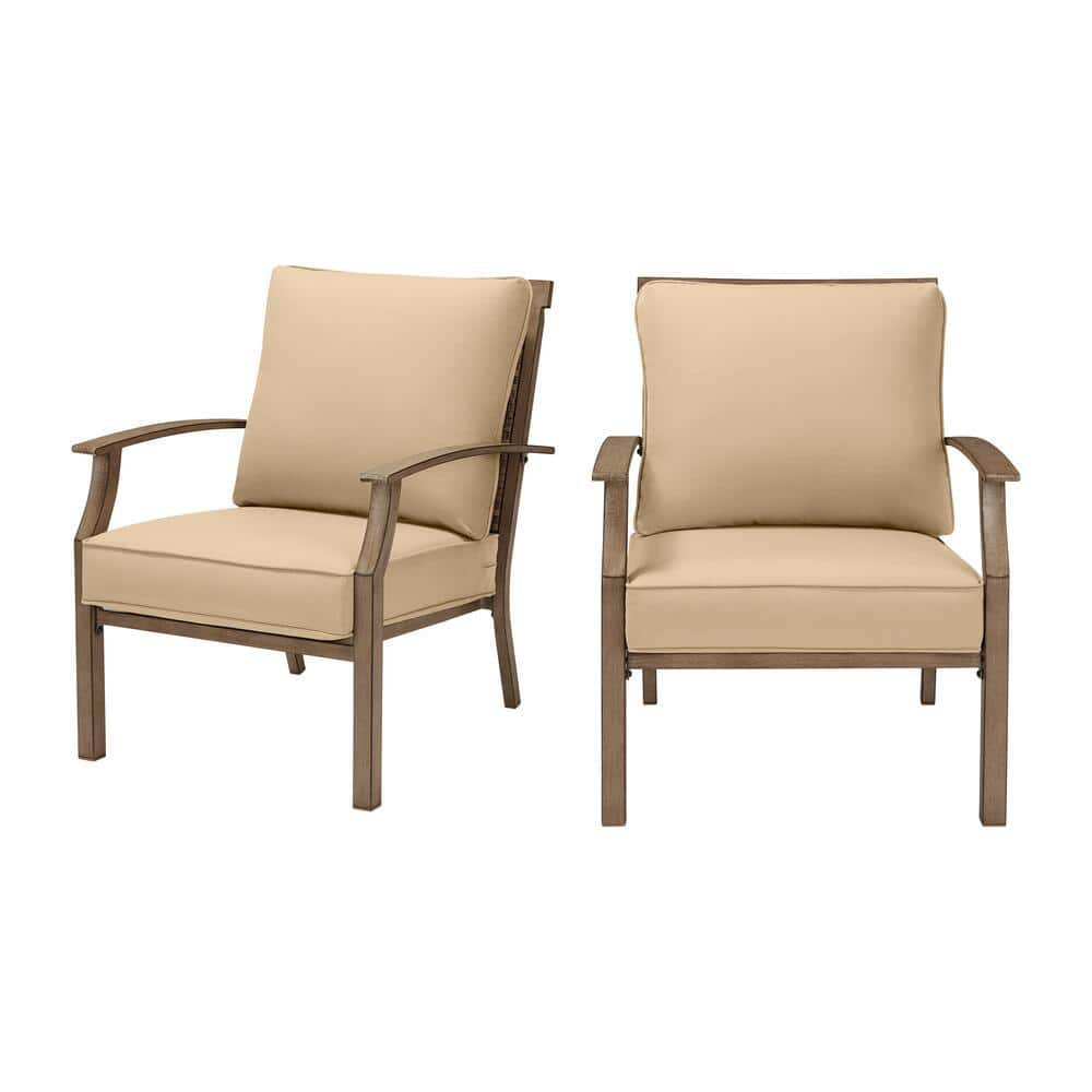 Hampton Bay Geneva Brown Wicker And Metal Outdoor Patio Lounge Chair With Sunbrella Beige Tan Cushions 2 Pack Frs60704 2pbg The Home Depot