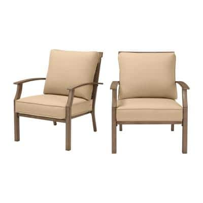 Geneva Brown Wicker and Metal Outdoor Patio Lounge Chair with Sunbrella Beige Tan Cushions (2-Pack)